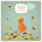 叶子的猫和秋天 免版税图库摄影
