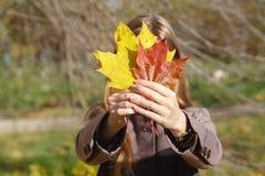 叶子的秋天妇女 免版税库存图片