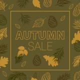 叶子的秋天 秋叶红色销售额字 与手拉的秋叶的增进海报 图库摄影