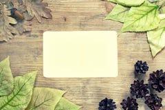 叶子秋天背景在一个木板的有纸片的写的文本 库存图片