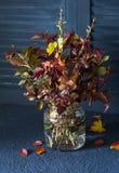 叶子秋天花束在葡萄酒瓶子的在一张黑暗的桌上 秋天舒适家 库存图片