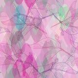 叶子等高,明亮的桃红色紫色淡紫色绿色现代时髦花卉无缝的样式,手拉 站点的, b抽象背景 免版税库存照片