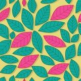 叶子粉红彩笔和绿色无缝的样式 免版税库存照片