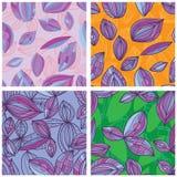 叶子线紫色集合无缝的样式 免版税图库摄影