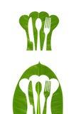 叶子装饰厨房商标 免版税库存照片
