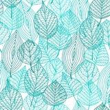 叶子绿色留下无缝的样式 免版税库存图片