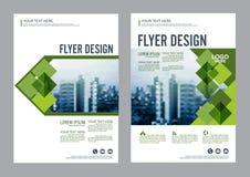 绿叶小册子布局设计模板 年终报告飞行物传单盖子介绍 免版税库存照片