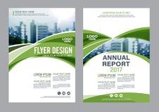 绿叶小册子布局设计模板 年终报告飞行物传单盖子介绍 免版税库存图片