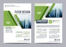 绿叶小册子布局设计模板 年终报告飞行物传单盖子介绍 图库摄影