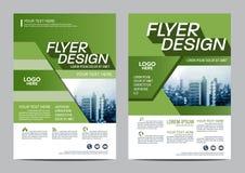 绿叶小册子布局设计模板 年终报告飞行物传单盖子介绍 库存图片
