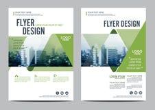 绿叶小册子布局设计模板 年终报告飞行物传单盖子介绍 库存例证