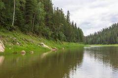 叶尼塞河的小附庸国 克拉斯诺亚尔斯克地区,俄罗斯 免版税图库摄影