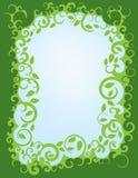 叶茂盛绿色漩涡边界 免版税库存图片