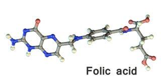 叶酸分子,维生素B9 免版税库存照片