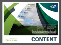 绿叶介绍布局设计模板 年终报告封页 免版税库存图片