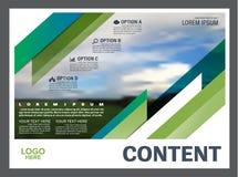 绿叶介绍布局设计模板 年终报告封页 免版税库存照片