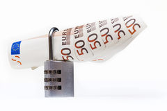 号码锁和欧元 库存照片