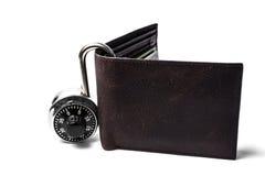 号码锁和钱包 免版税图库摄影