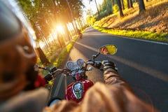 司机在一条柏油路的骑马摩托车通过森林 免版税库存照片