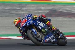 司机持异议者VINALES 卡塔龙尼亚MotoGP的妖怪能量格兰披治 库存照片