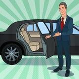 司机等待的ner黑色大型高级轿车 豪华汽车的汽车夫 流行艺术例证 皇族释放例证