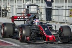 司机罗曼・格罗斯让 队Haas 免版税库存照片