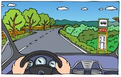 司机视图-天 库存例证