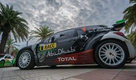 司机Mads Ostberg和他的共同司机乔纳斯安德森的WRC汽车在萨洛角,西班牙 图库摄影
