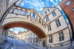 叹气桥梁在牛津早晨,英国 免版税库存照片