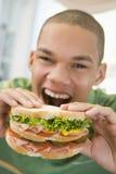 吃三明治的男孩少年 库存图片
