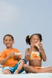 吃三明治的兄弟和姐妹 库存照片