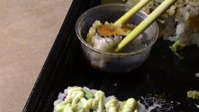 吃与筷子的日本寿司 影视素材