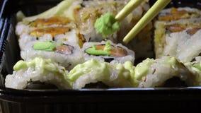 吃与筷子的日本寿司 股票录像