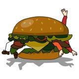 吃人的坏汉堡 免版税库存图片