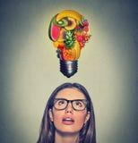 吃健康想法饮食技巧 查寻电灯泡的妇女由在头上的果子制成 免版税库存图片