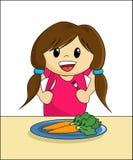 吃健康的女孩 免版税图库摄影