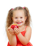 吃健康食物苹果的子项 免版税库存照片