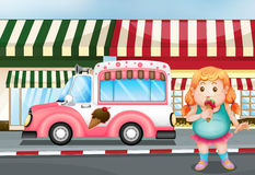 吃冰淇凌的一个肥胖女孩 向量例证