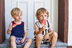 吃冰淇凌的两个小孪生男孩 库存图片