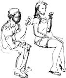 吃冰淇凌的人和女孩的剪影 免版税库存图片