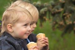吃冰淇凌的愉快的孪生 免版税库存照片