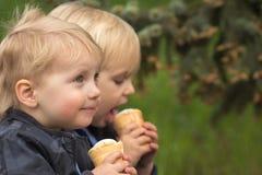 吃冰淇凌的愉快的孪生 图库摄影
