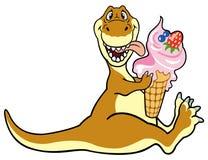 吃冰淇凌的Dino 库存照片