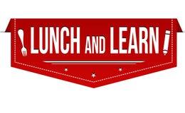 吃午餐并且学会横幅设计 向量例证
