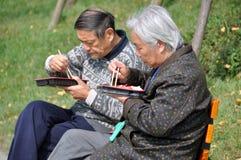 吃午餐qingbaijiang的瓷夫妇 库存照片