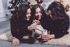 吃圣诞节曲奇饼的美丽的女孩 图库摄影