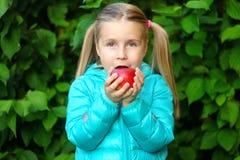 吃在一个长木凳的小女孩一个苹果在秋天天 库存图片