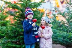 吃在圣诞节市场上的两个小孩被结晶的苹果 库存照片