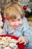 吃在圣诞节的逗人喜爱的小男孩曲奇饼 免版税图库摄影