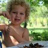 吃在庭院里的一个小男孩的画象 免版税库存图片